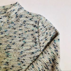 LOFT Knit Cream Blue Gold Speckled Sweater